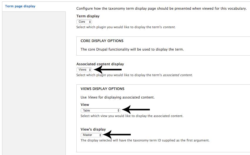 Configure term page