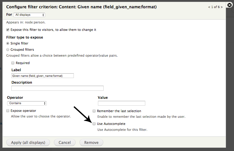 Views Autocomplete Filter configuration
